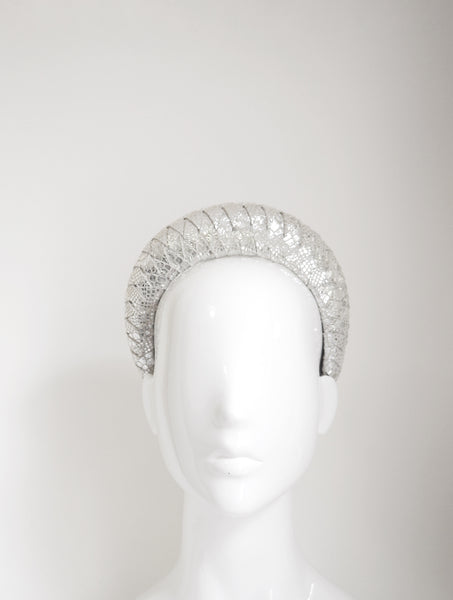 Mia - Leather 3d Halo - Silver snake