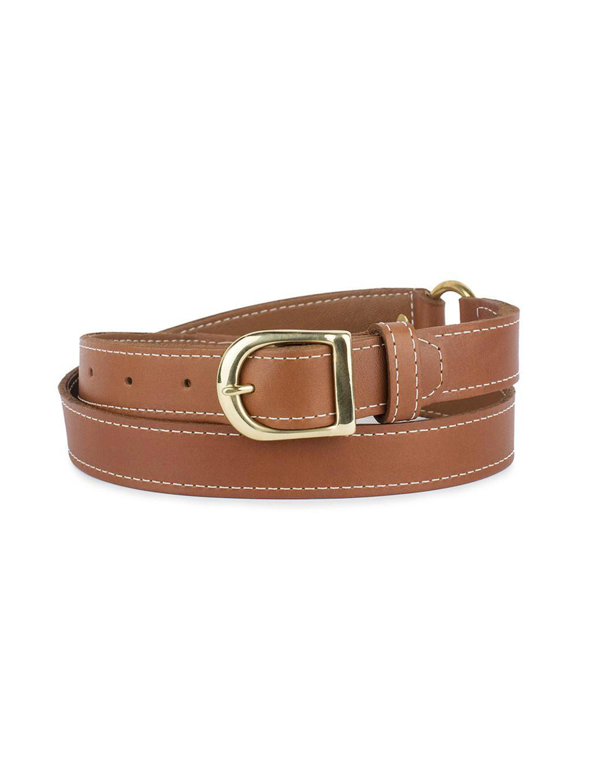 "1"" RING BELT in Cognac Napa"