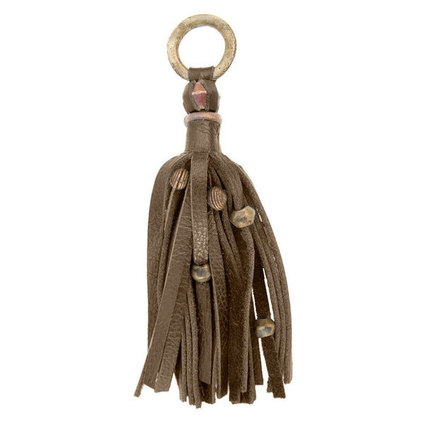 FRANJA KEY CHAIN in Mushroom Napa Leather
