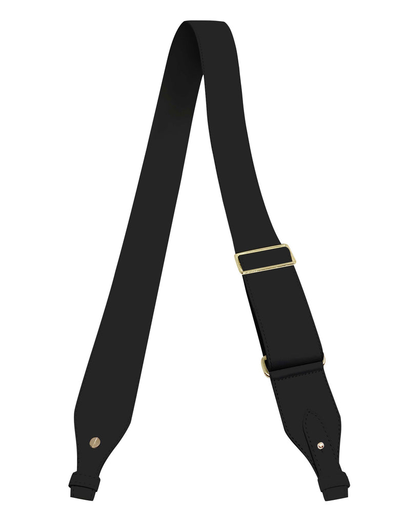 "ADJUSTABLE  2"" CROSSBODY STRAP in Black Napa"