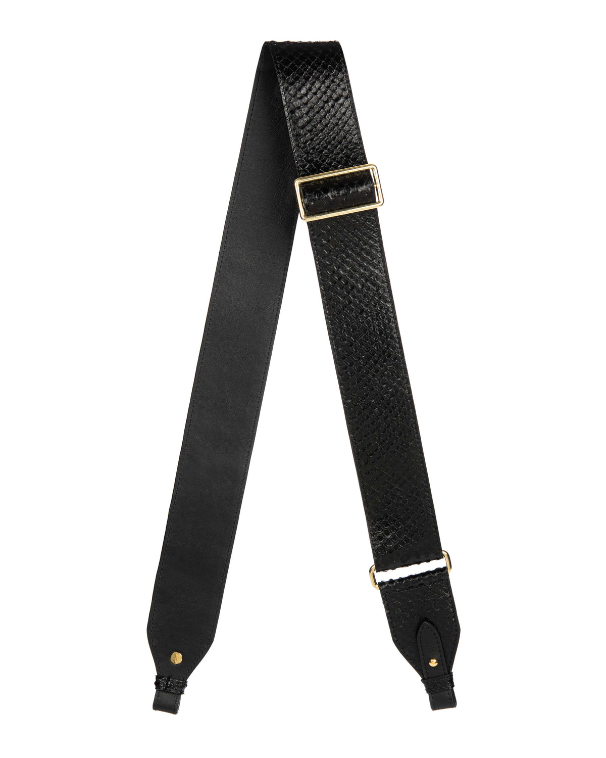 "ADJUSTABLE  2"" CROSSBODY STRAP in Embossed Black Python"