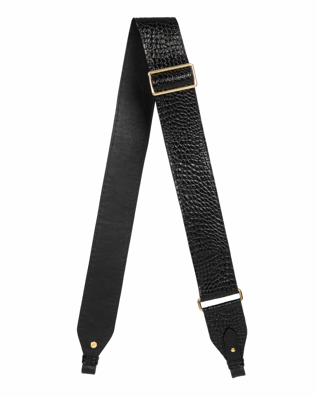 "ADJUSTABLE  2"" CROSSBODY STRAP in Embossed Black Croco"