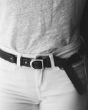"3/4"" RING BELT in White Napa"