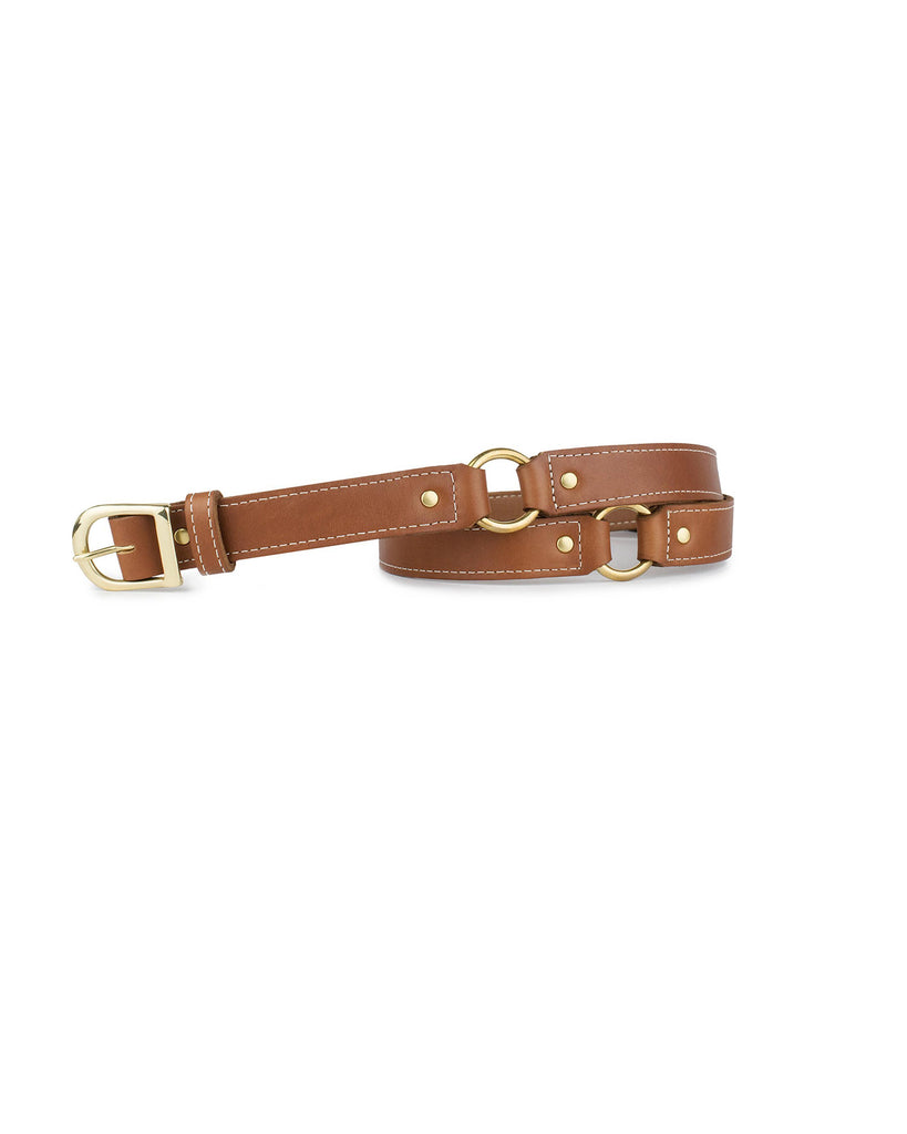 "3/4"" RING BELT in Cognac Napa"