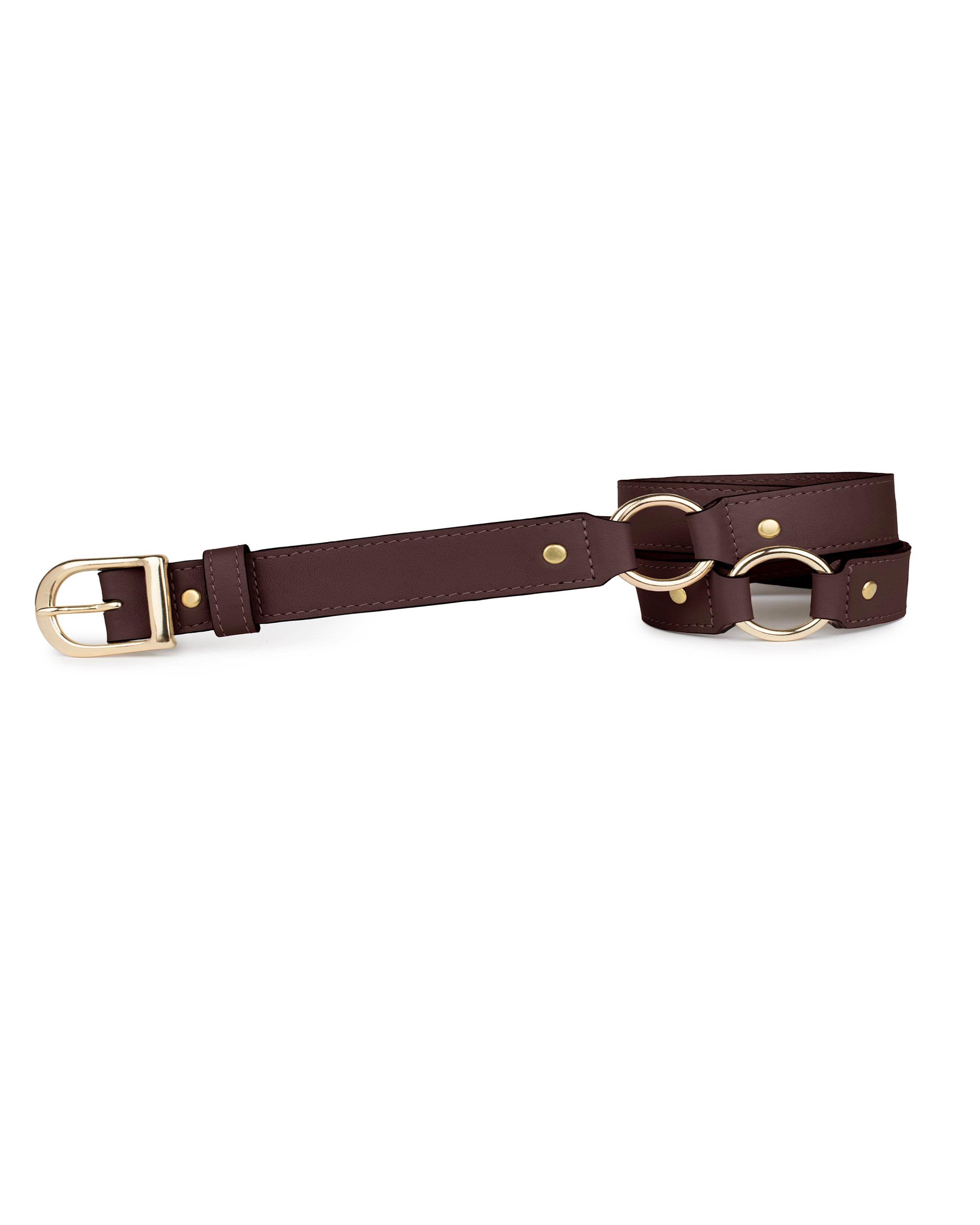 "3/4"" RING BELT in Chocolate Napa"