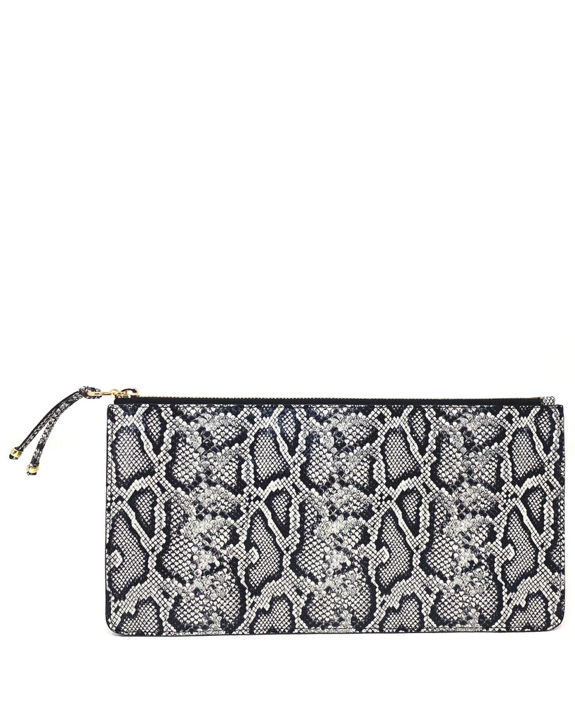BOLSILLO IV CLUTCH in Black and White Embossed Snake
