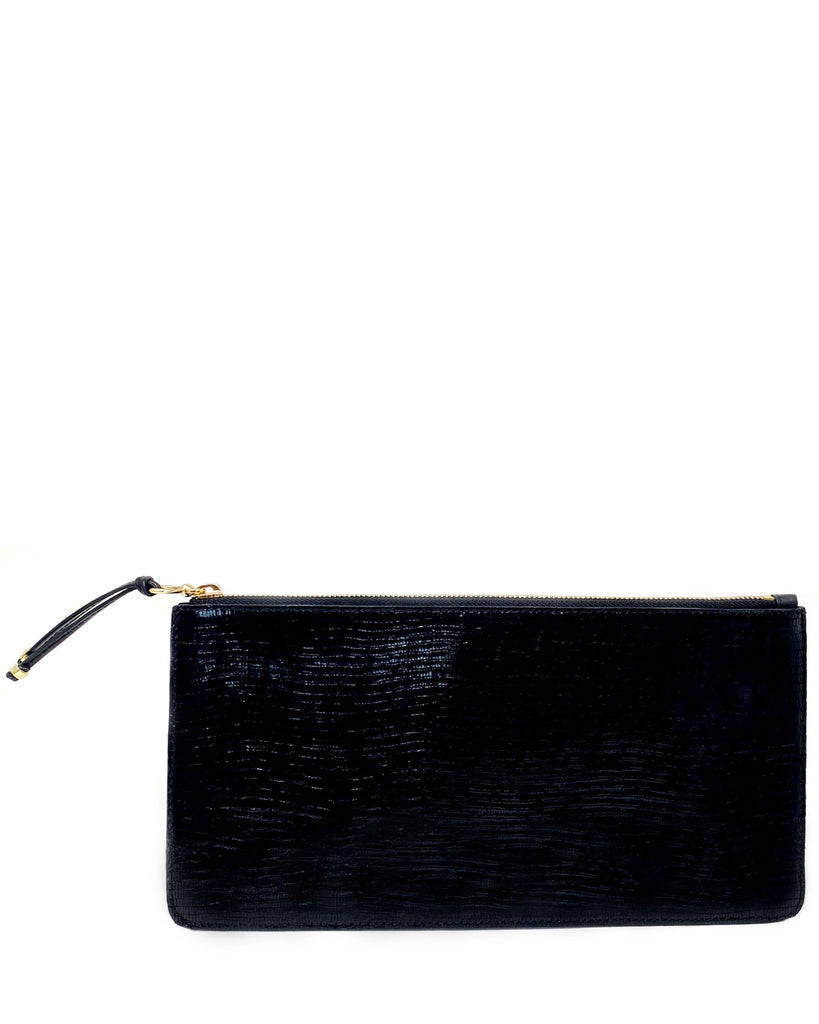 BOLSILLO IV CLUTCH in Shiny Black Embossed Lizard