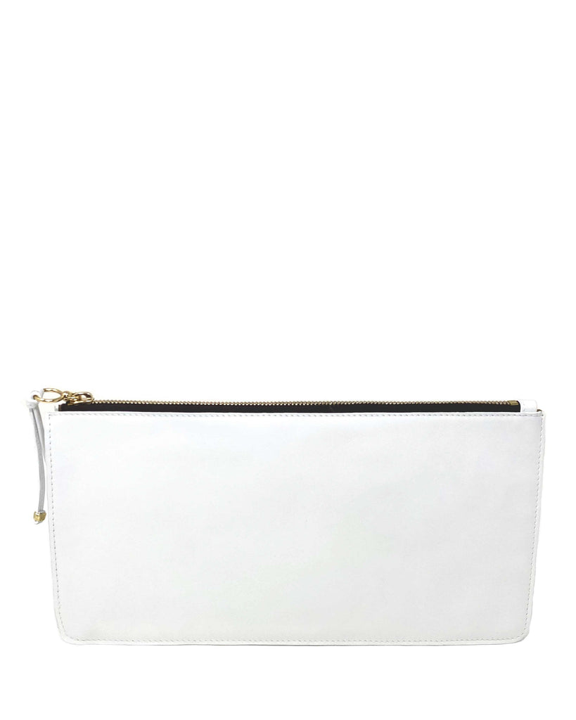 BOLSILLO IV CLUTCH in White Napa