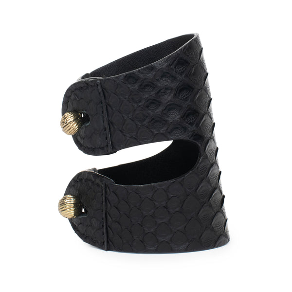 CAGANCHO CUFF in Black Snakeskin