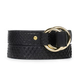 DOUBLE RING BELT in Black Snakeskin