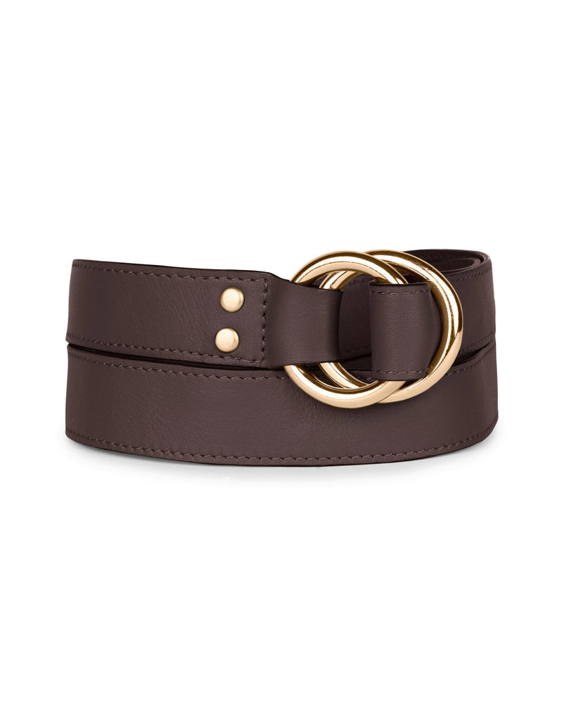 DOUBLE RING BELT in Chocolate Napa