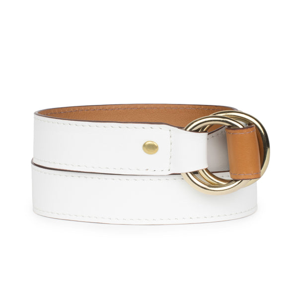 DOUBLE RING BELT in Caramel/White Napa
