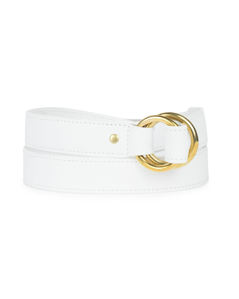 DOUBLE RING BELT in White Napa