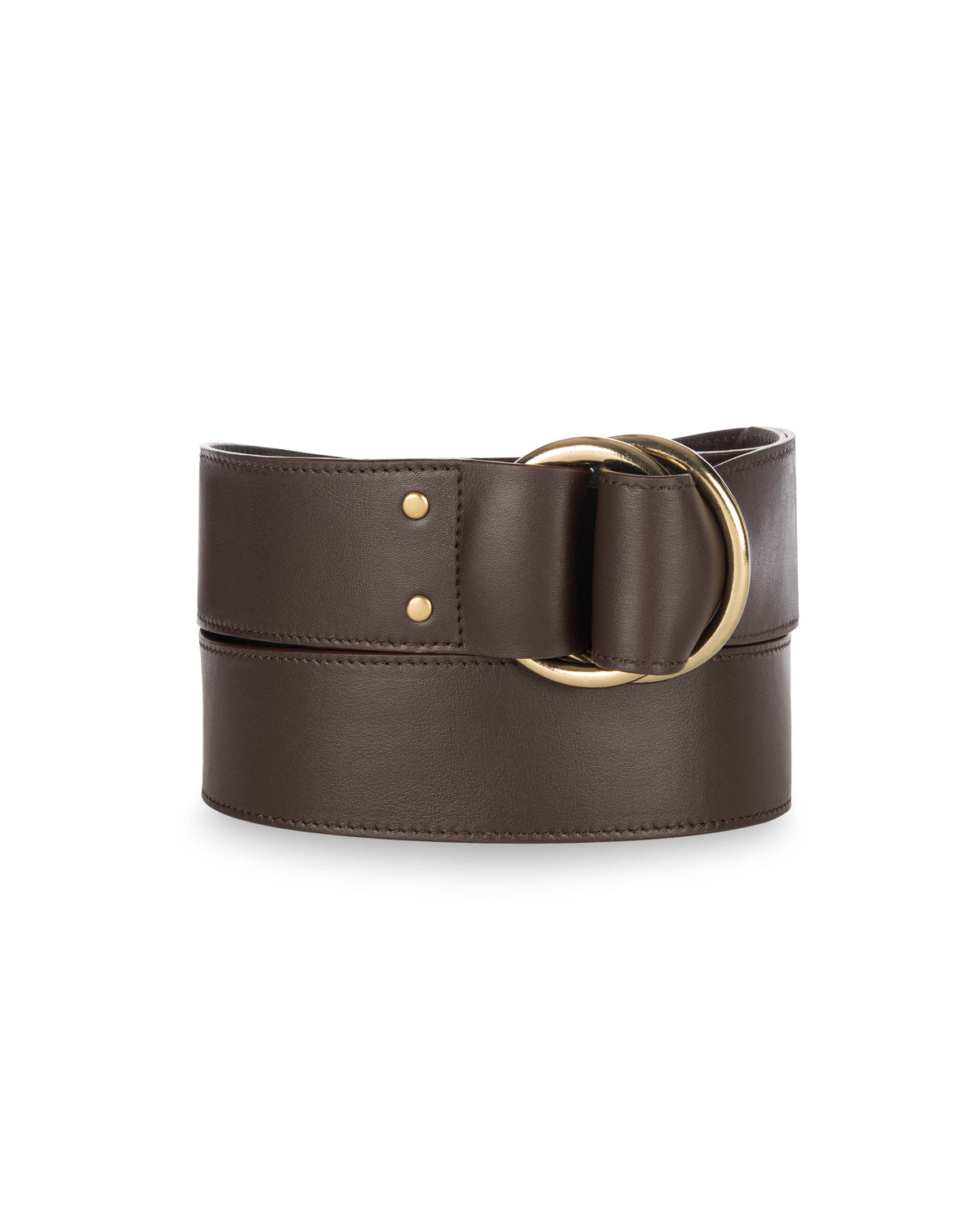 "2"" DOUBLE RING BELT in Chocolate Napa"