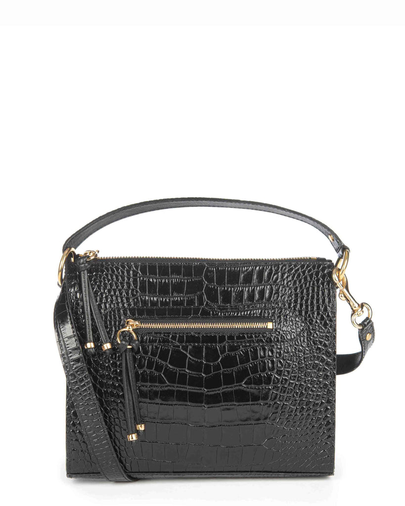 FELIPA in Black Embossed Croco