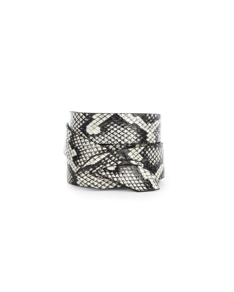 GIRONA WRIST WRAP in Black and White Embossed Snake