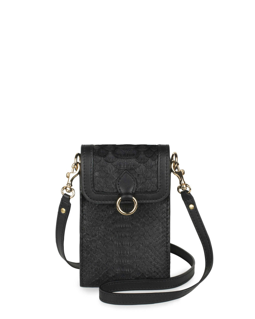 GITANA MINI in Black Embossed Python
