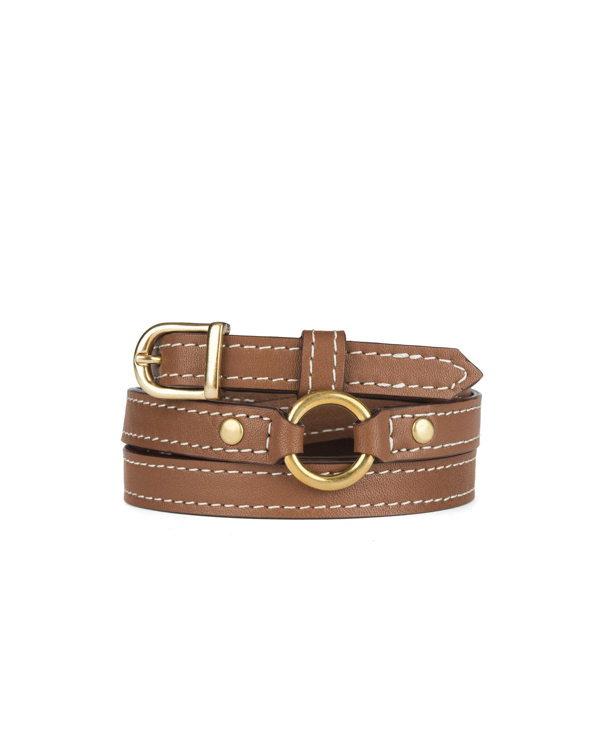 "1/2"" RING BELT in Cognac Napa"