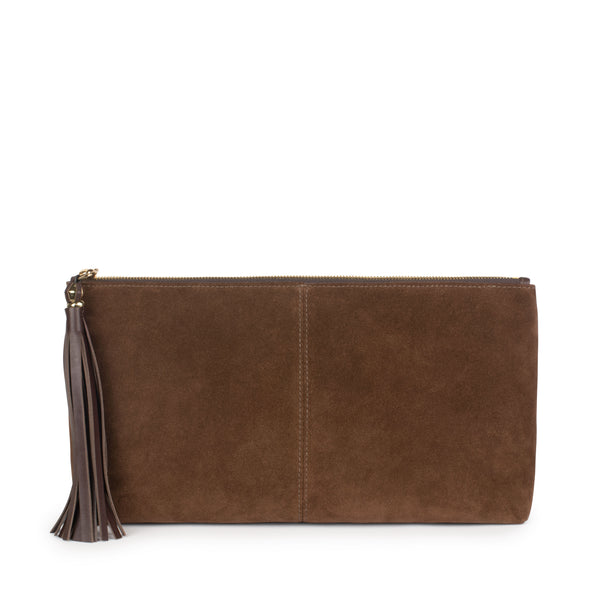 LUPE SINO CLUTCH in Chocolate Suede