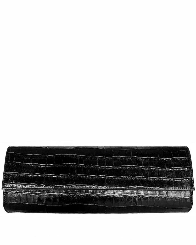 Nº3 CLUTCH in Embossed Black Croco