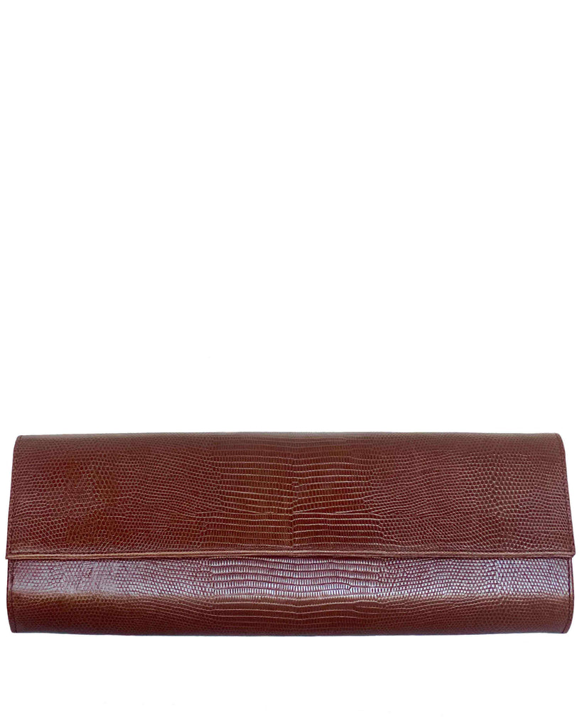 Nº3 CLUTCH in Embossed Praline Lizard