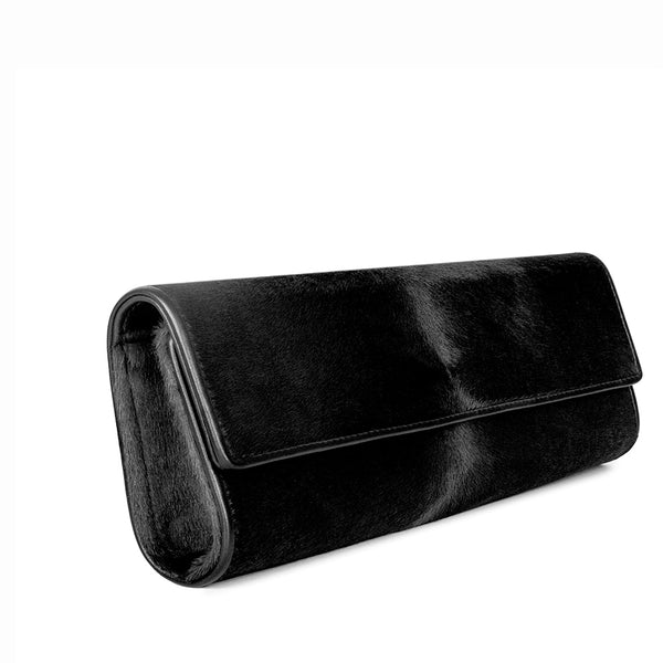 Nº3 CLUTCH in Black Italian Calf Hair
