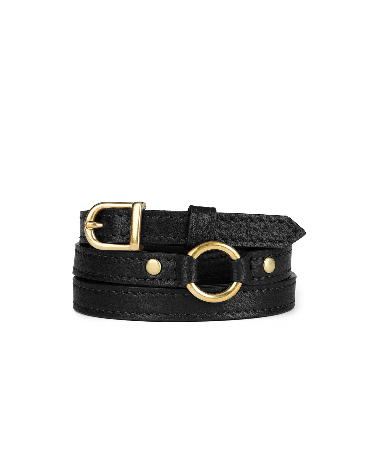 "1/2"" RING BELT in Black Napa"