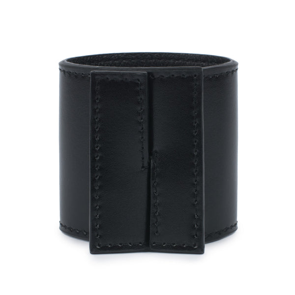 Wide intersecting leather cuff front view