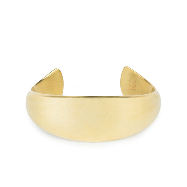 Wide rounded brass tapered cuff front view