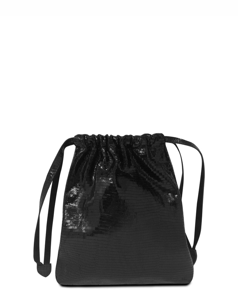 BOLSA in Shiny Black Embossed Lizard