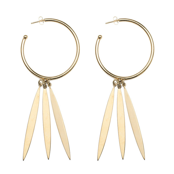 round gold plated brass hoops with vertical charms side view