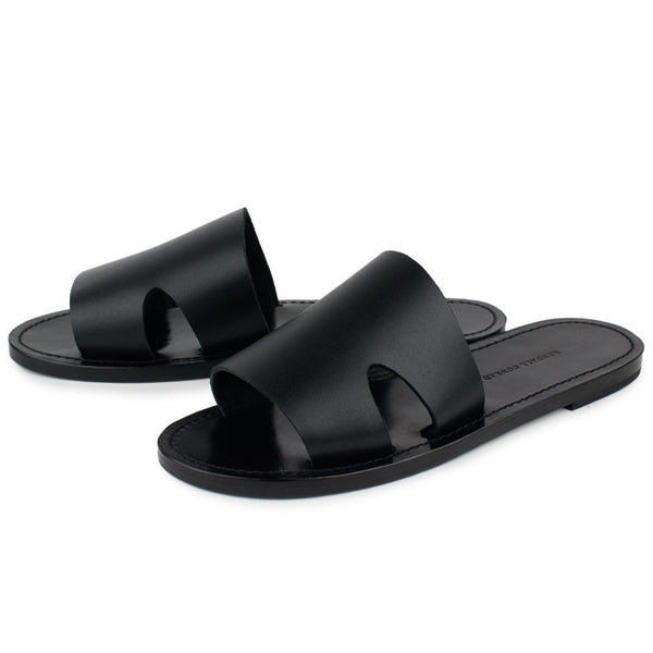 CAGANCHO SLIDES in Black Bridle Leather