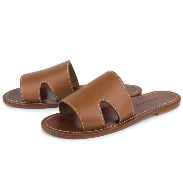CAGANCHO SLIDES in Cognac Bridle Leather