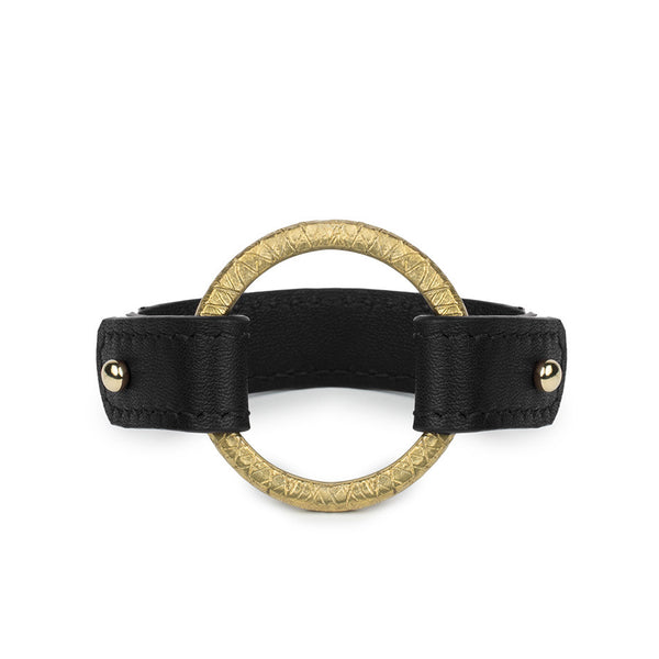 CAMAROON RING CUFF in Black Napa Leather