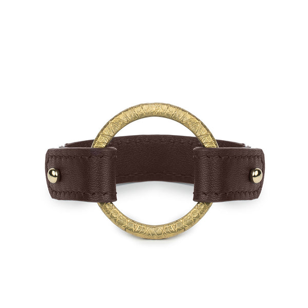 CAMAROON RING CUFF in Chocolate Napa Leather