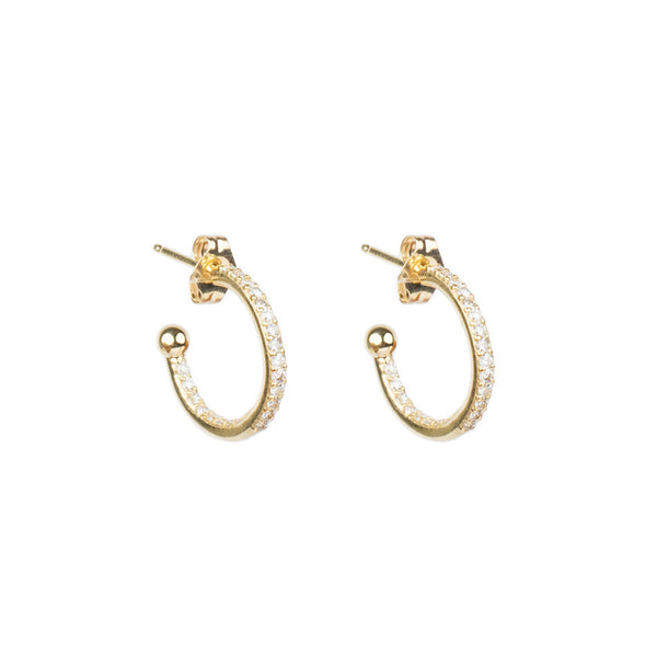 Little gold hoops with diamonds and ball and post side view