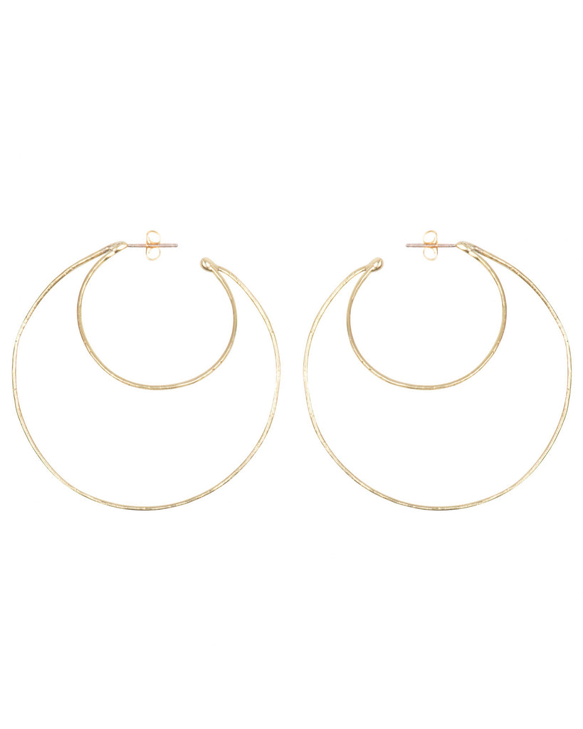 THIN DOUBLE HOOPS in 14K Gold