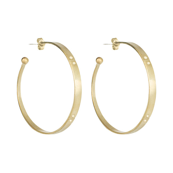 flat hoops with etching and balls and posts side view