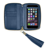 iPHONE CASE in Azul Napa Leather
