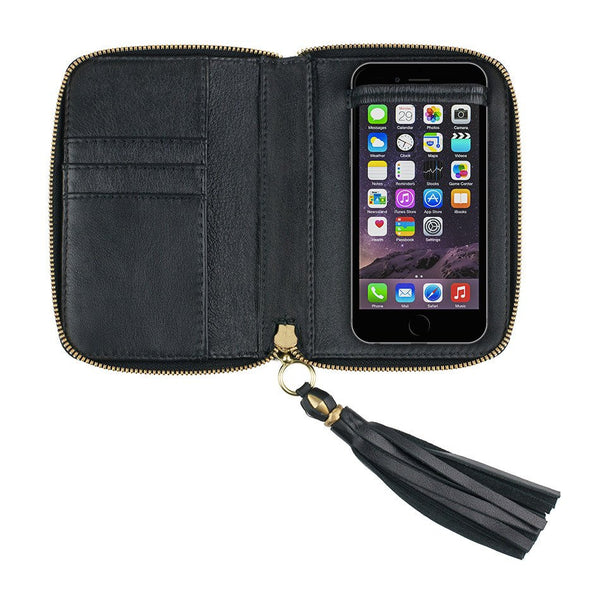 iPHONE CASE in Black Hair on Calf