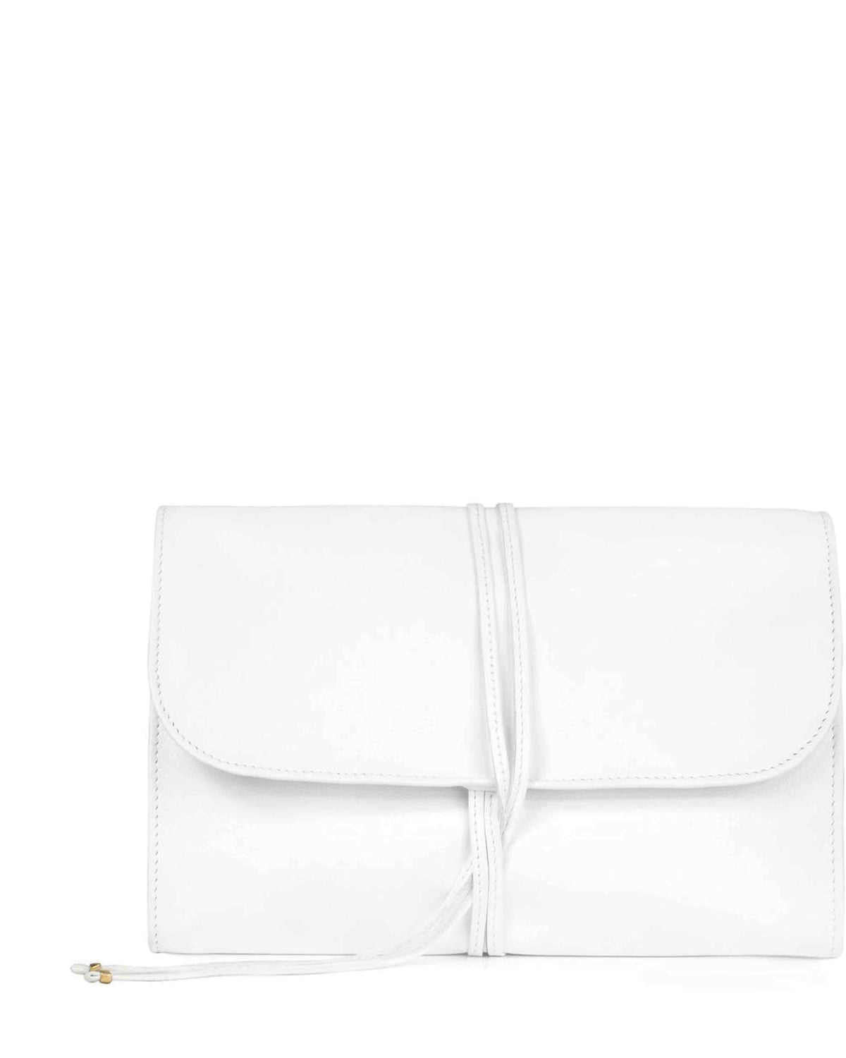 JEWELRY ROLL in White Napa Leather