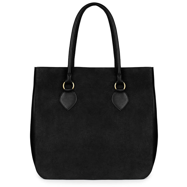 MARLENA TOTE in black suede