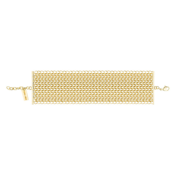 Wide chain mail meshed bracelet with lobster clasp in gold plated brass overhead view