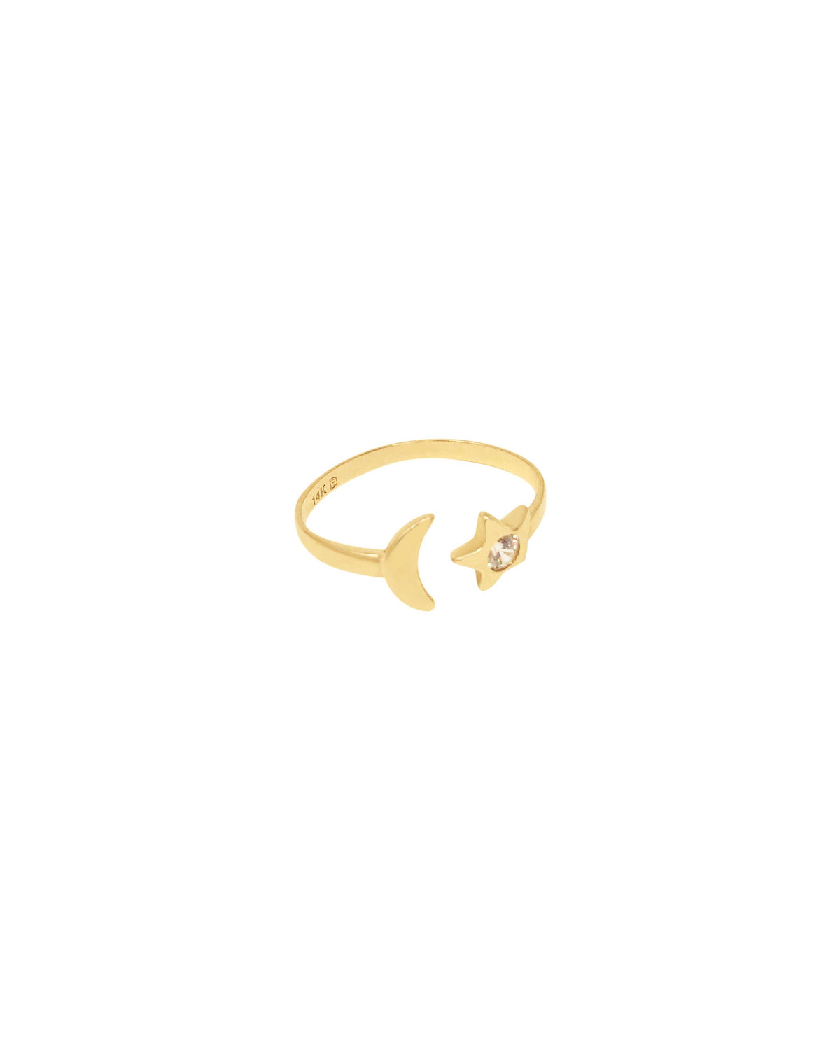 MOON AND STAR RING in 14K Gold