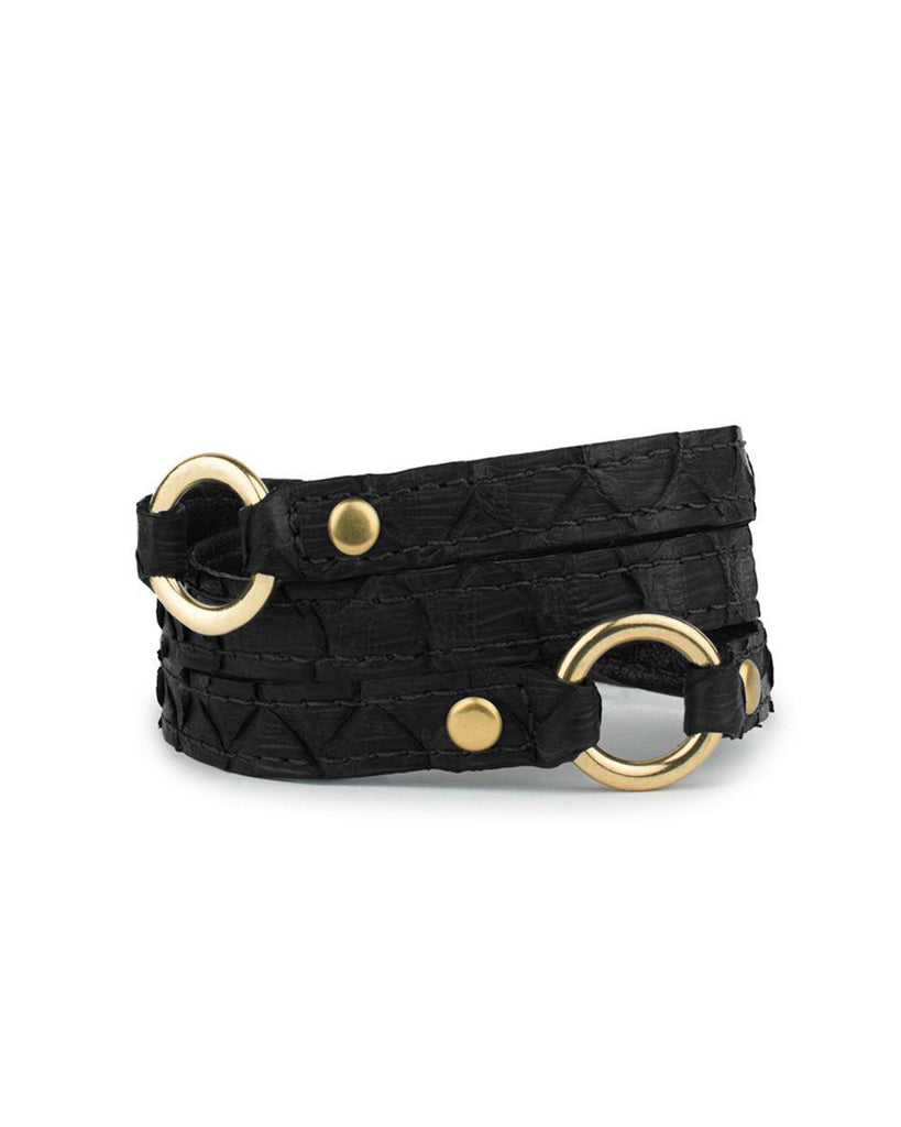 PACHA WRIST WRAP in Black Embossed Python