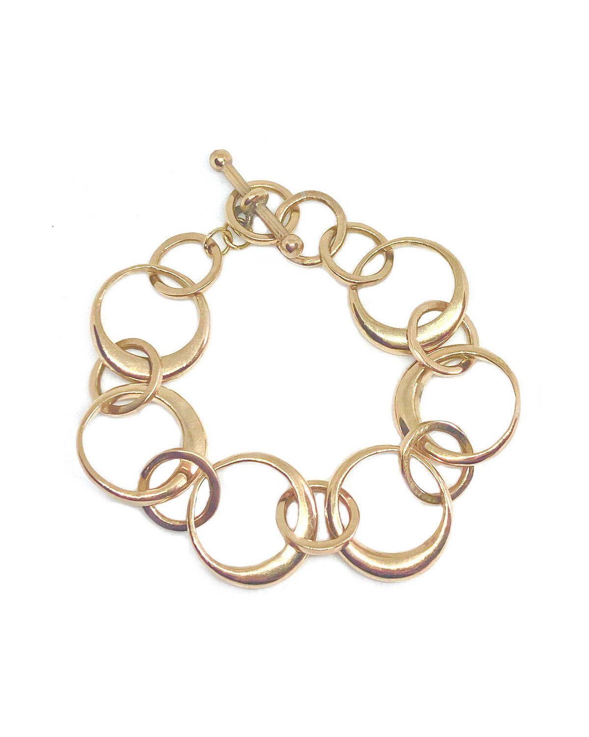 THIN ROUNDED RING CHAIN BRACELET