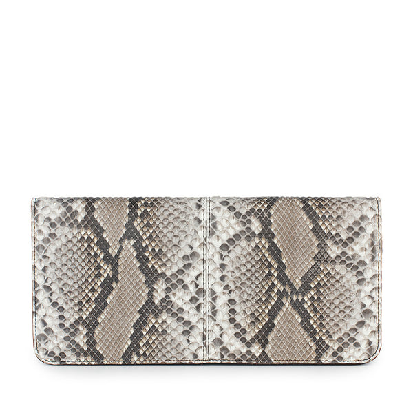 snakeskin clutch front view
