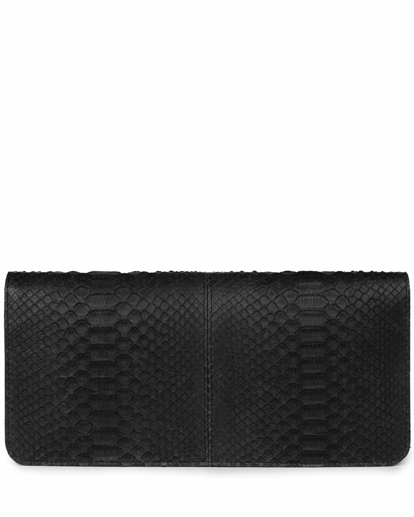 VIDA CLUTCH in Black Embossed Python Leather