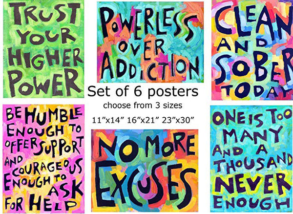 Sobriety Addiction Art 💜 (set Of 6) Positive Inspirational Daily Affirmation Posters