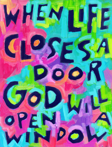 When Life Closes a door ..opens a window - Sunday School poster